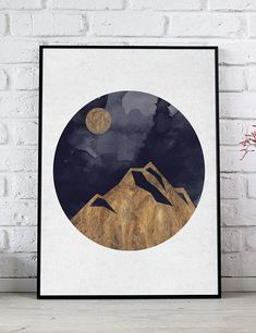 Mountains Golden Watercolor Poster, Minimalist Art, Mountain Wall Art, Watercolor Print, Scandinavian Wall Art, Gold Mountains Illustration  HD digital download sized to fit standard frames, print from print shop or your computer.  You will receive - 8 x 10 inch jpg 11 x 14 inch jpg 16 Printable Art, Printables, Mountain Illustration, Minimalist Art, Watercolor Print, As You Like, Scandinavian, Frames, Display