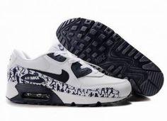 sports shoes 91c50 86b6a Nike Air Max 90 Hommes Mode Chaussures Blanc Noir DarkBlue Nike Store, Air  Max 90