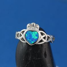 Blue Opal ring Sterling silver Friendship Irish by LifeOfSilver, $29.80