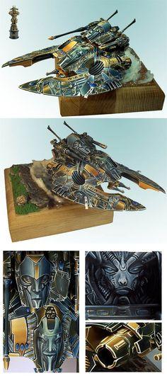 Warhammer 40k Eldar Falcon Grav Tank, incredible free-hand paint work