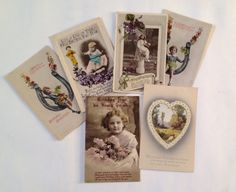 Vintage Postcards, Old Colour Images, Flowers Assemblage / Collage Supplies, Paper Ephemera, 6 items of Ephemera by gardenfullofVintage on Etsy