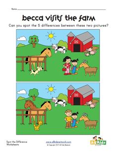 spot the difference farm worksheet