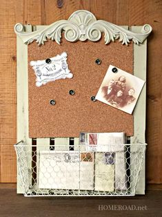 Cork Board Message Center with a Basket  www.homeroad.net
