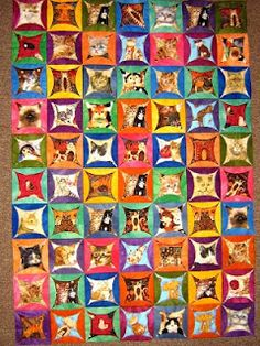 """LOVE all the bright colors - maybe try using 1-2 colors for the """"frames""""?I Spy Quilt, many ideas!"""