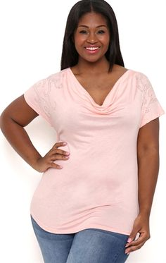 Plus Size Short Sleeve Top with Drape Front and Stones on Shoulders