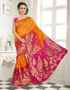 Yellow Banarasi Silk Saree With Blouse 64066