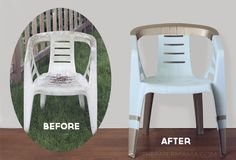 Turn those old beat up/stained plastic chairs into fancy revamped outdoor chairs! Wow, would have never thought plastic lawn chairs could look so cute! Outdoor Plastic Chairs, Outdoor Chairs, Chair Makeover, Furniture Makeover, Painting Plastic Chairs, Paint Plastic, Diy Décoration, Eames, Diy Chair