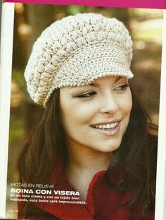 Inspirations Croche with Any Lucy: Cap / Beret Crochet Cap, Crochet Wool, Crochet Baby Hats, Crochet Beanie, Crochet Scarves, Irish Crochet, Crochet Crafts, Knitted Hats, Crochet Vintage