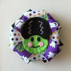 Halloween/Costume Girl Frankenstein Bow ribbon bow-Headband-Hairbow-witch.pumpkin-Bat-Cat-Frankenstein-Ghost-Pumpkin-patch.party.photo prop by CutiePieParade on Etsy