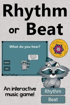 Rhythm or beat? Fun interactive elementary music game for your kindergarten and first grade classes working on recognizing beat/rhythm! Perfect music education resource and activity to add to your lesson plans! Get ready for the giggles and a little creative movement!!