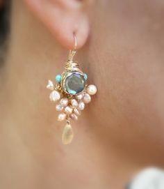 Pearl Jewelry, Goddess Earrings with Bezel set Labradorite and Pearls, Pearl Earrings, gold filled and Pearl,Pearl Jewelry Bar Earrings, Bridal Earrings, Gemstone Earrings, Beaded Earrings, Wedding Jewelry, Diamond Earrings, Labradorite Jewelry, Pearl Gemstone, Diamond Stud