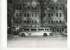 Date unknown: Duke Ellington's tour bus parked in front of the Adelphi Hotel.     (Courtesy of Saratoga Springs Historical Museum, George S. Bolster collection)