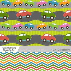 Cars digital paper pack Chevron polka dots by funkymushrooms