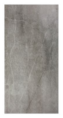 Cool grey tones blanket the surface of this ceramic tile with a thin vein pattern similar to a natural marble.