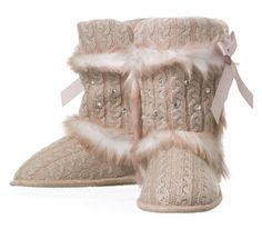 You get over-the-ankle, over-the-top fun with these Dearfoams cable knit rhinestone boots. #slippers