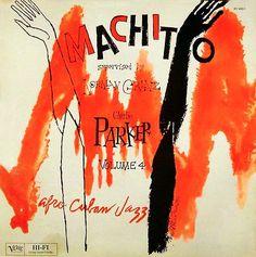 Album cover by David Stone Martin (1913-1992), 1950, Machito Afro Cuban Jazz, Charlie Parker, Flip Phillips, Buddy Rich, Chico O'Farrill.