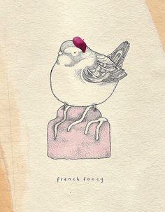 Thinking about getting this bird tattoed (w/o the beanie) Kate Wilson's work is precious.