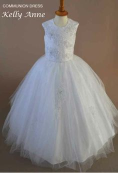 Kelly Anne - Sleeveless Tulle And Lace First Communion Dress With Full Multi Layer Hooped Skirt - New 2014