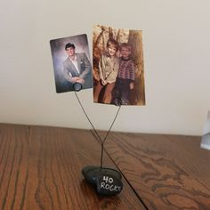 "DIY Rock Photo Holder - perfect for ""40 Rocks"" birthday theme, beach wedding or vacation pictures."