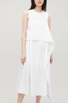 Model side image of Cos draped-tie long a-line dress in white Wardrobe Sale, Small Wardrobe, White Shirts, Long A Line, New Dress, Peplum Dress, Style Me, Organic Cotton, Women Wear