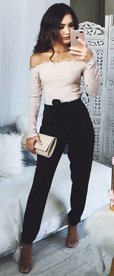 #fall #outfits women's gray off-shoulder long sleeved top and black pants