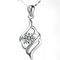 Fashion Womens Crystal Rhinestone 925 Sterling Silver Pendant Necklace Gift