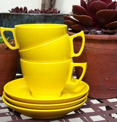 Sunshine Yellow Teacups