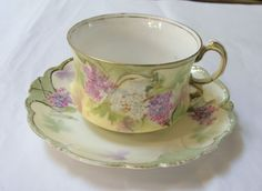 RS Prussia soft Purple and White Hydrangeas Tea Cup and Saucer Set