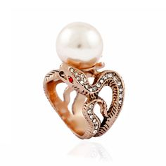 Ancient snakes pearl ring