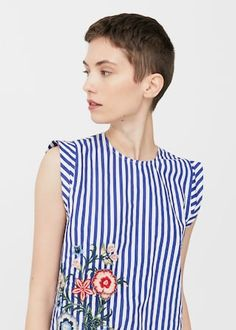 Embroidered striped top - Women | MANGO USA