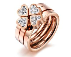 Rose Gold Plated 3 in One Clover Cubic Zirconia Lucky Ring Charm Women Band