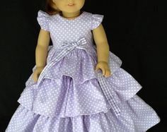 18 inch doll dress and headband. Fits American Girl by ASewSewShop