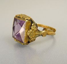 Vintage Art Deco Czech Brass & Amethyst Ring Forget Me by jujubee1