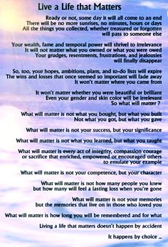 Live A Life That Matters By: Michael Josephson