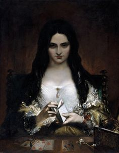 "artmastered: "" Theodor von Holst, The Wish, 1840, oil on canvas, 90 x 71 cm, Holst Birthplace Museum, Cheltenham. Source This exquisite piece was the inspiration for Dante Gabriel Rossetti's poem 'The Card Dealer'. With those dark eyes, red lips and..."