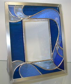 Stained Glass Blue Wave Frame