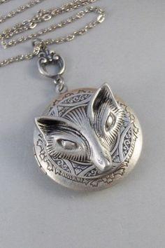 Vixen,Locket,Fox, Antique Locket,Silver Locket,Fox Locket,Woodland,Woodland Fox. Handmade jewelry by valleygirldesigns on Etsy, $32.00  I love this, so original....