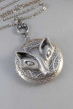 Vixen,Locket,Fox, Antique Locket,Silver Locket,Fox Locket,Woodland,Woodland Fox. Handmade jewelry by valleygirldesigns