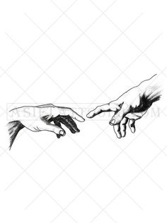 This black and white meaningful tattoo is inspired by Michelangelo's The Creation of Adam in the Sistine Chapel. Available in multiple sizes and can be worn as an armband tattoo, a shoulder tattoo, a