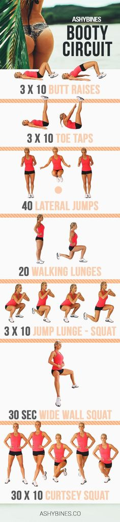 Booty Circuit Ashy Bines http://ashybines.co/exercise/butts-and-lunges-and-squats-oh-my/?inf_contact_key=119ff1c7ca2317e1a877925f8f3c7213ada11356784438c58bae63390f73bc9a