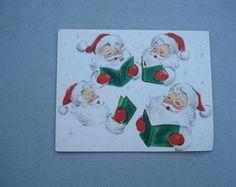 Four Santas, Christmas Card,Holiday Card, Santa cluase, Santa, Snow Scene, Winter Scene, Children, Christmas Decor, Singing Santas, Hallmark