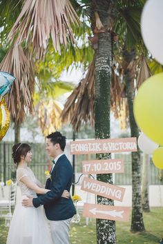 Handpainted wedding signs // And It Was All Yellow: Fong Lik and Victoria's Home Garden Wedding