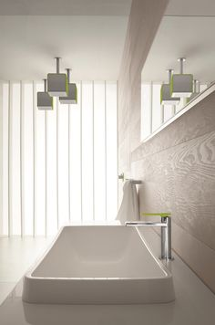 Arte Form Cube Ceiling Showerhead in Lime and Maco Basin Monobloc in Chrome with Lime Handle