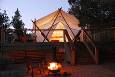 Whether a lover of yoga and meditation, a believer in cannabis-friendly vacations, or simply one in desire for a relaxing spa vacation, these luxurious tents on 40 acres of private property in Central Oregon are where glampers will want to stay. This tranquil spa and glamping site near Bend will provide guests with an environment so peaceful they're bound to get the quality rest and relaxation they seek. Whether on a couples getaway or a trip with friends, guests can feel all their worries…