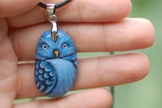 Necklace+hand+painted+blue+parakeet+from+natural+by+Uniquestoneart,+$39.00
