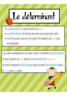 Affiche Le Déterminant (Collection Classes de mots)
