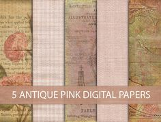 5 Digital Papers  INSTANT DOWNLOAD  Antique Style by DIYVintageArt, $2.50