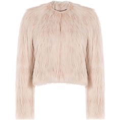 RED Valentino Faux Fur Jacket ($760) ❤ liked on Polyvore featuring outerwear, jackets, fur, tops, rose, pink jacket, faux fur jacket, fake fur jacket, slim jacket and slim fit jacket