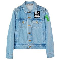PATCH IT UP DENIM JACKET ❤ liked on Polyvore featuring outerwear, jackets, spiked denim jacket, patched jean jacket, jean jacket, denim jacket and blue jackets