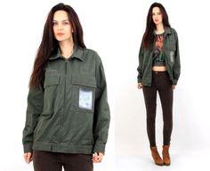 Vintage Khaki Military Classic Cotton Jacket Size M by Ramaci on Etsy